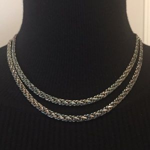 Vintage Jewelry Silver/Grey Tones Necklace 36""
